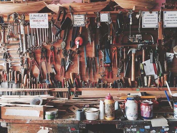 Tools on shelf