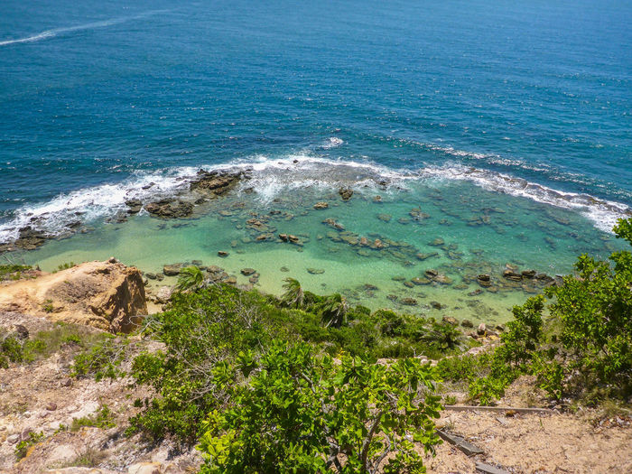 Beach Beauty In Nature Crystal Water Day High Angle View Horizon Over Water Lush - Description Morro De São Paulo Nature No People Outdoors Scenics Sea Sky Tree Water