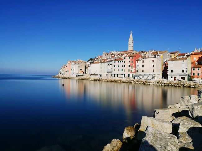 Sky Travel Destinations Architecture City Blue Water Building Exterior Cityscape Clear Sky Outdoors No People Day Croatiafulloflife Rovinj/Croatia Longexposure Longexpo Phonephotographer Phone Photography Huaweiphotography Huawei P9 Leica HuaweiP9Photography