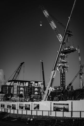 Japan Yokohama Architecture Built Structure Construction Site Building Exterior Clear Sky Development Outdoors Crane - Construction Machinery Industry No People Day Sky City Water