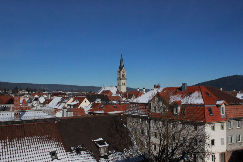 Blick auf Tuttlingen und Stadtkirche Tuttlingen im Winter Cityscape Skyline Bell Tower Blue Blue Sky Clear Sky Clock Tower Cold Temperature Day No People Outdoors Sky Skyline Tuttlingen Snow Tuttlingen Winter Winter Time