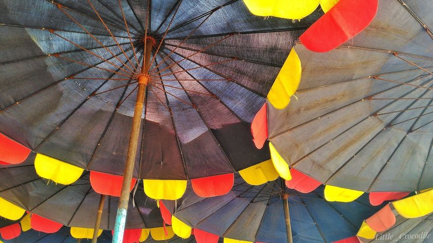 Multi Colored Protection Full Frame Rain Shelter Backgrounds Pattern Wet Day Yellow No People Outdoors Under Close-up Nature