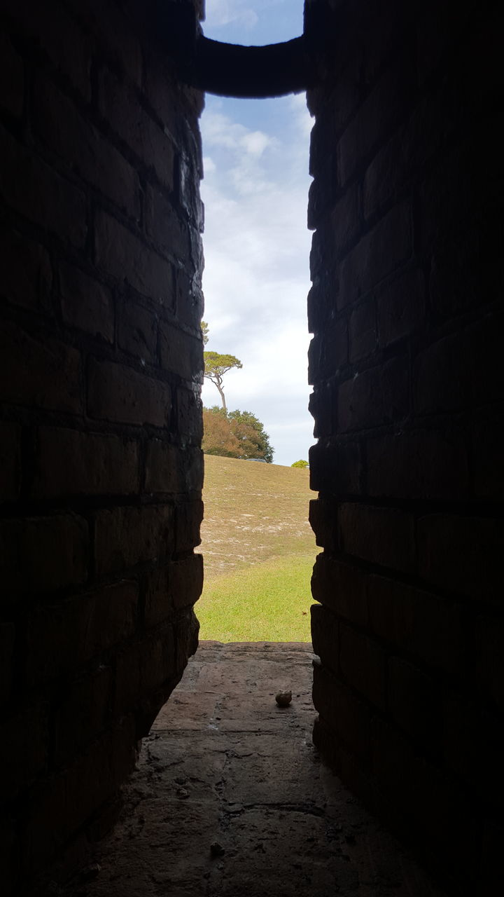 brick wall, field, no people, sky, day, built structure, outdoors, grass, architecture, nature