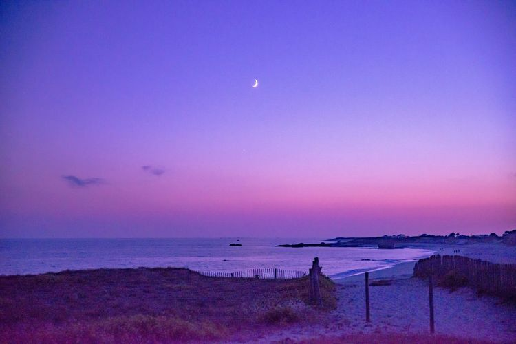 Blue Hour at Lesconil, Bretagne. The Week on EyeEm EyeEm Best Shots The Great Outdoors Moon Sky Water Beauty In Nature Beach Scenics - Nature Sea Land Tranquil Scene Nature Sunset Purple Night Outdoors Horizon Over Water Idyllic