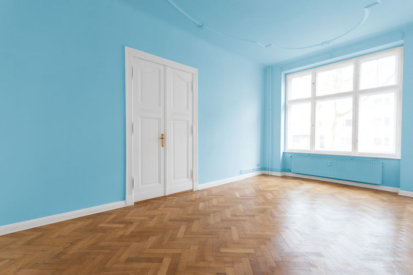 empty room, white door, blue walls and parquet floor Apartment Architecture Architecture Blackandwhite Blue Built Structure Day Domestic Room Door Home Home Interior Home Showcase Interior House Indoors  Interior Interior Design Luxury Modern No People Old Real Estate Residential Building Sparse Style