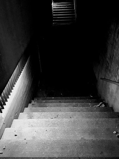 Stairs into the Darkness Spooky Blackandwhite Architecture Staircase Built Structure No People Steps And Staircases Dark City Abandoned EyeEmNewHere