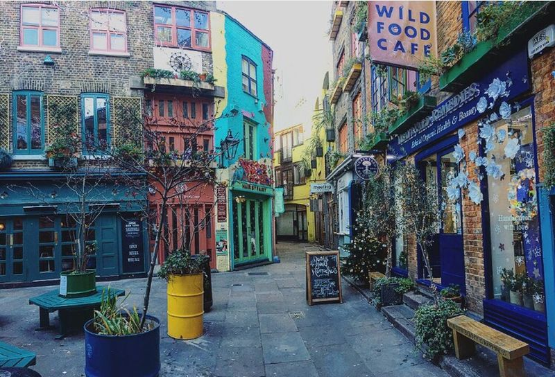Color me in Neal's Yard England London Architecture Building Exterior Built Structure Outdoors Day No People Street City Tree Christmas Lights Colors Iphoneonly IPhoneography
