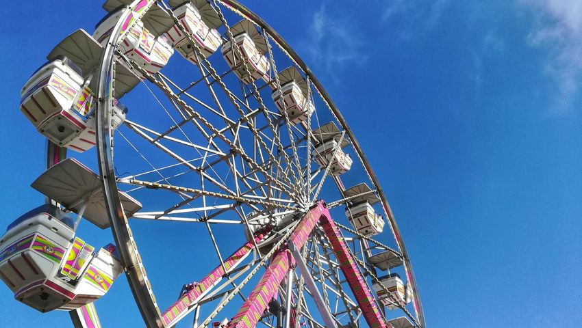 Ferris Wheel Amusement Park Arts Culture And Entertainment Amusement Park Ride Low Angle View Blue Clear Sky Leisure Activity Sky Day Outdoors Traveling Carnival Carnival Rides Palos Verdes Palos Verdes, CA Palos Verdes Street Fair Street Fair Family Fun Honor6x Huaweiphotography Huaweihonor6x