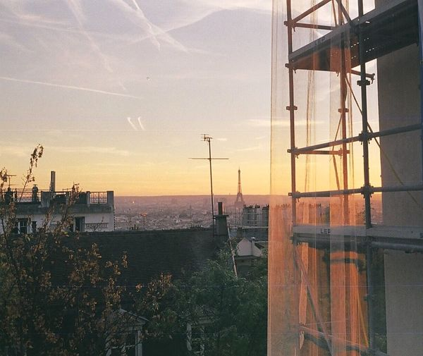 Sky Sunset Paris Eiffel Tower Warm Colors Construction Site Analogue Photography Rollei35led Analog