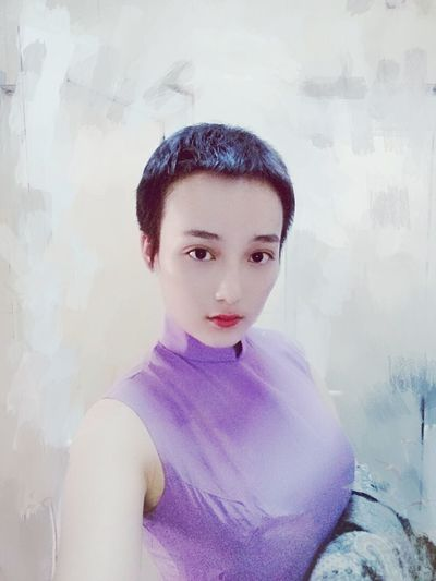 Girls Purple Beauty Portrait ChineseFashion Hi! Taking Photos Graceful Personality  Classic Sexygirl Short Hair That's Me Check This Out Faces Of EyeEm Eyes Uniqe Model Spring Life Relaxing Holiday Hello World Peace