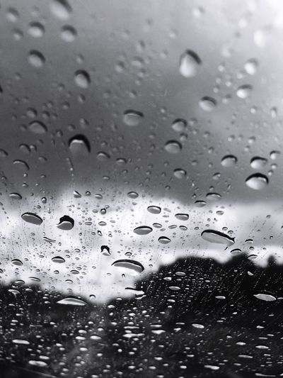 Raindrops Rain Blackandwhite Monochrome View From The Car Eye4photography  IPhoneography Window Typical Summer Weather