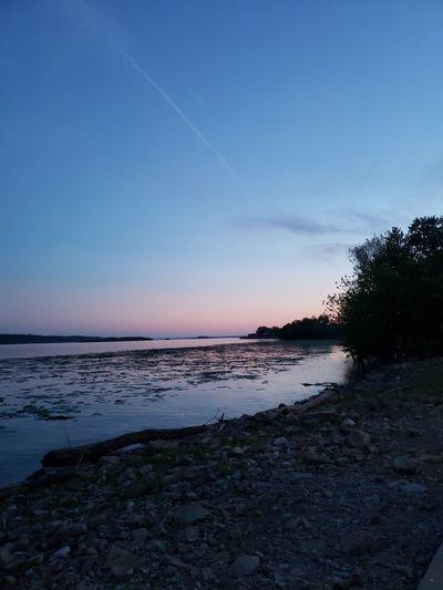 sun set over