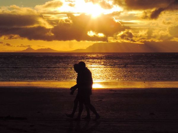 Silhouette Beach Sunset Walking On Beach Shore Clouds Sky Sunshine Walking 43 Golden Moments