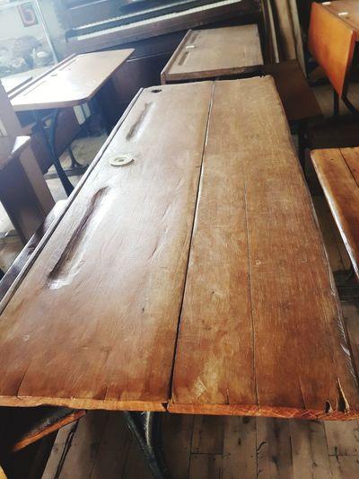 Wooden Desk 0ld School Desk