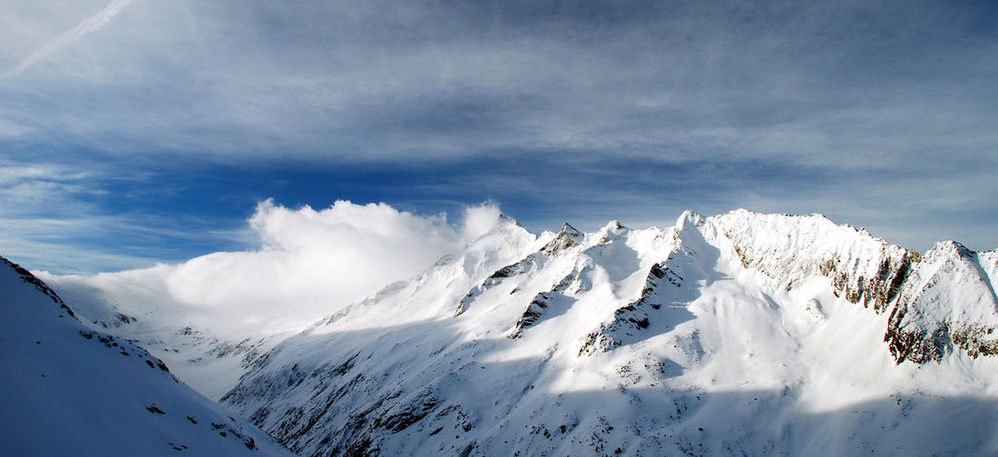 Beauty In Nature Cloud - Sky Cold Temperature Day Landscape Mountain Nature No People Outdoors Scenics Sky Snow Tranquil Scene Tranquility Zillertal
