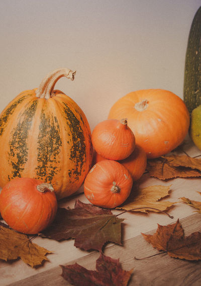 Orange pumpkins on the old rustic table Orange Autumn Close-up Food Food And Drink Freshness Halloween Healthy Eating High Angle View Indoors  Leaf Leaves Nature No People Orange Color Plant Part Pumpkin Still Life Studio Shot Table Vegetable Vertical Wellbeing