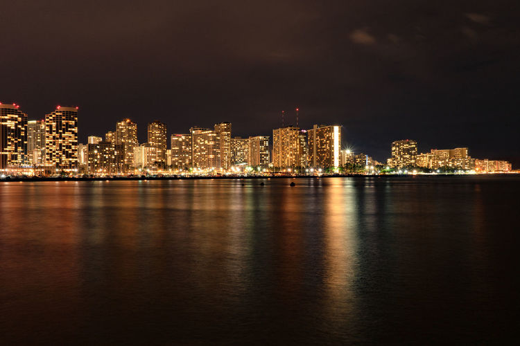 Architecture Built Structure Building Exterior Night City Water Reflection Illuminated Waterfront Building Sky No People Nature Cityscape Urban Skyline Outdoors Sea Office Building Exterior Skyscraper Nightlife Luminosity Honolulu  Hawaii Travel EyeEmNewHere