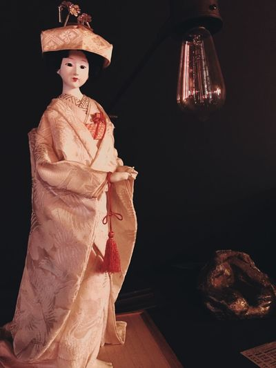Red Color Red Statues Statue Doll Photography Dolls Doll Light Human Representation Indoors  Sculpture Statue No People Doll Night Illuminated