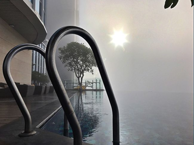 Foggy morning Water Architecture No People Outdoors Day Nature Sky Sonya7r2 Foggy Morning Infinity Pool Surabaya Eyeem Indonesia Indonesia_photography Surabaya In The Morning