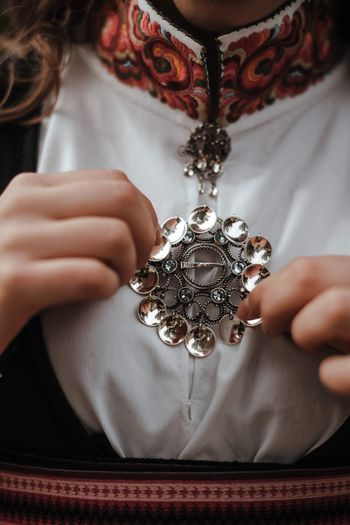 Details EyeEm Gallery Girl Silver Jewelery Silver  Traditional Clothing Bunad One Person Human Hand Hand Real People Holding Human Body Part Indoors  Women Close-up Jewelry Lifestyles Front View Fashion
