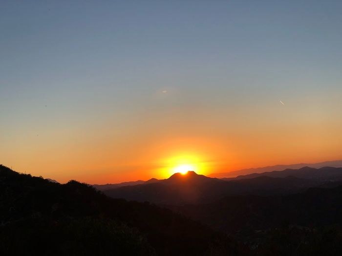 Sunset, sky,hiking Sky Sunset Beauty In Nature Scenics - Nature Tranquility Orange Color Tranquil Scene Outdoors Mountain Range Landscape