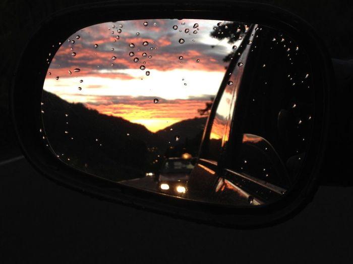 The Drive Retrovisor Rearview Drive Sunset Vehicle Mirror Punto De Vista
