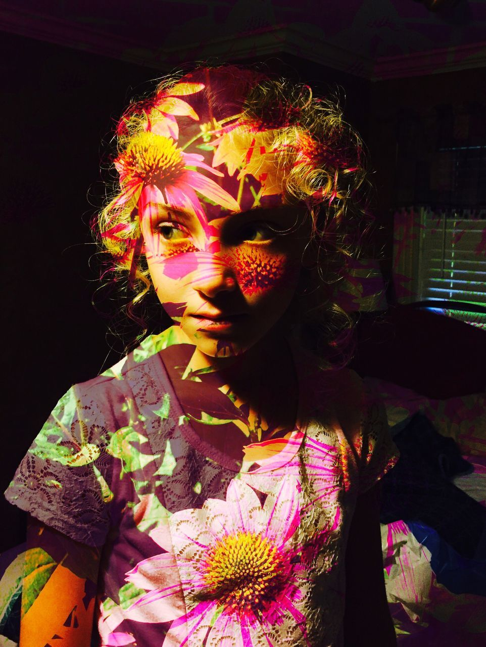 Double Exposure Of Pink Flowering Plant And Girl