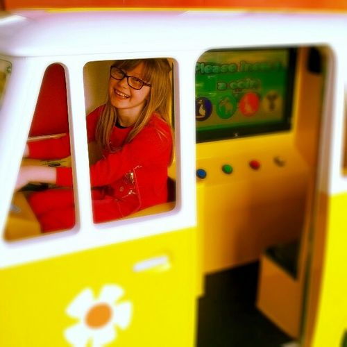 Saffron riding in the Hippie van Vw Camper My Kids I Have Cute Kids My Beautiful Daughter Big Smiles Enjoying Life