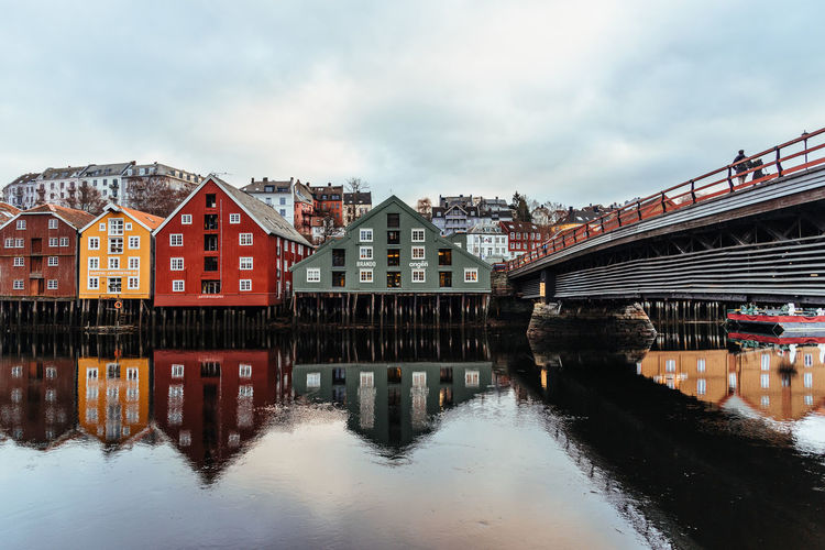 Norway Architecture Built Structure Building Exterior Water Sky River Bridge Cloud - Sky City Connection Building Bridge - Man Made Structure Waterfront Nature Transportation Reflection No People Day Residential District Row House