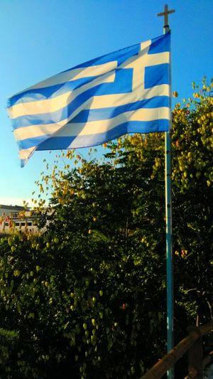 The Greek flag,