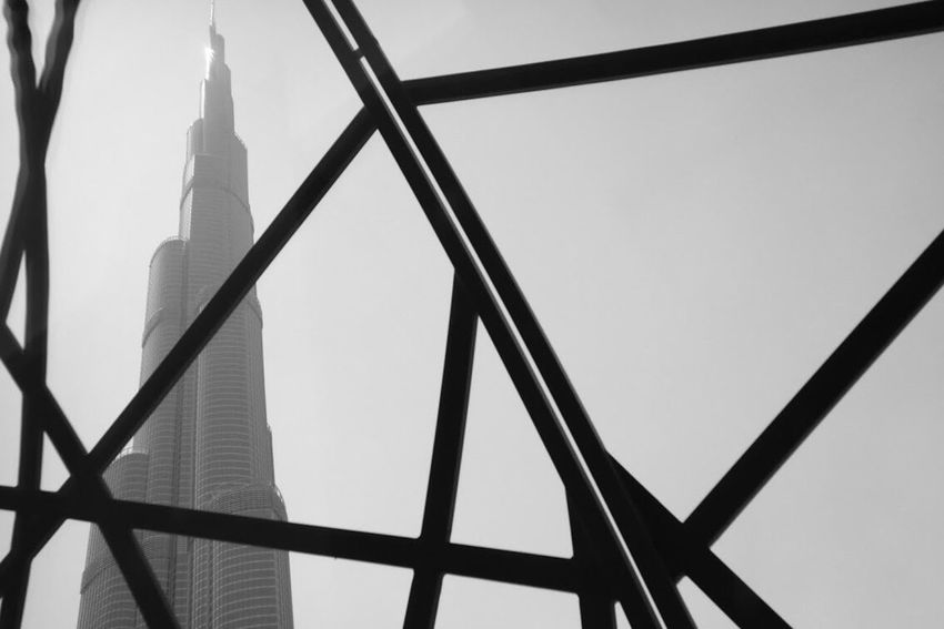 B&W Burj Low Angle View Built Structure Safety Architecture Metal Protection Day No People Outdoors Building Exterior Sky Close-up City Girder
