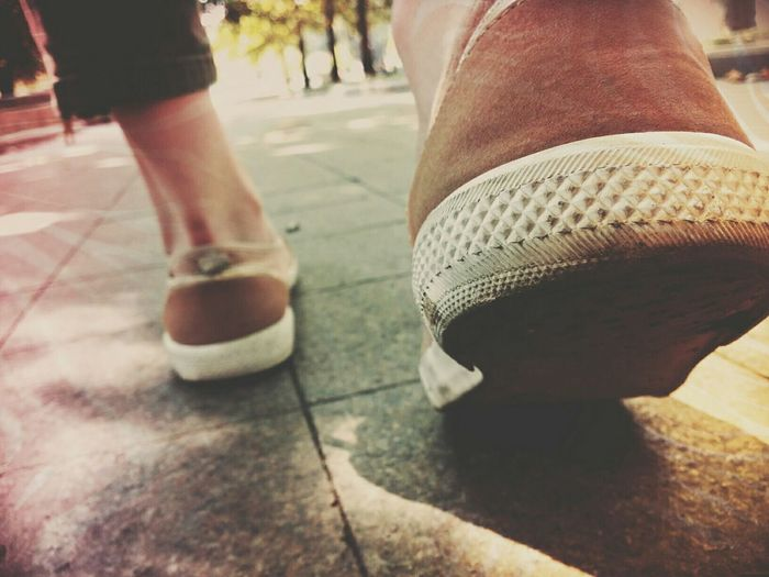 Walking Shoes Walking Walk Easy City Cityscape People Tiles Earth Sun Sunny Soul Calm Chill EyeEm Selects Clouds Town Urban Lifestyle Canvas Shoe Footwear Human Foot Pedestrian Sock Shoe Shoelace Human Feet Pair Personal Perspective Feet Crosswalk