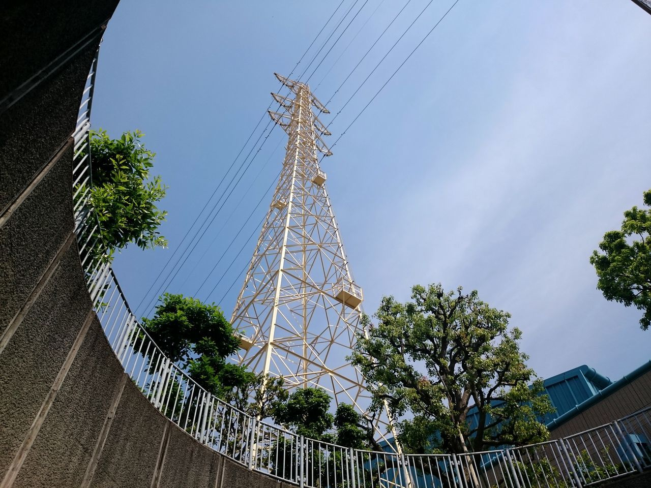 cable, electricity pylon, electricity, tree, low angle view, power supply, power line, connection, day, sky, fuel and power generation, no people, technology, outdoors, architecture
