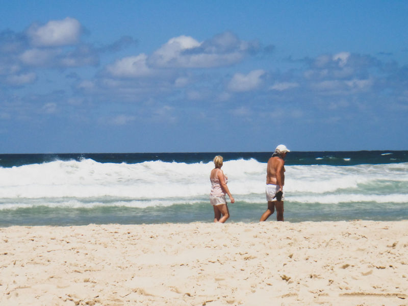 Active Seniors Beach Beauty In Nature Bonding Couple Day Full Length Horizon Over Water Leisure Activity Lifestyles Nature Outdoors Real People Rear View Sand Scenics Sea Senior Adult Shore Sky Togetherness Two People Vacations Walking Water