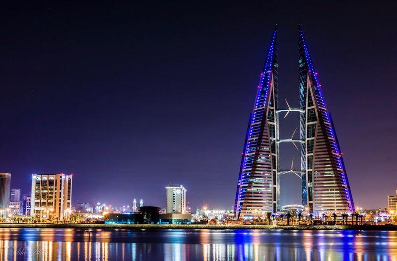 Architecture Illuminated City Tourism River Cityscape Bahrain Bahrain Tourism