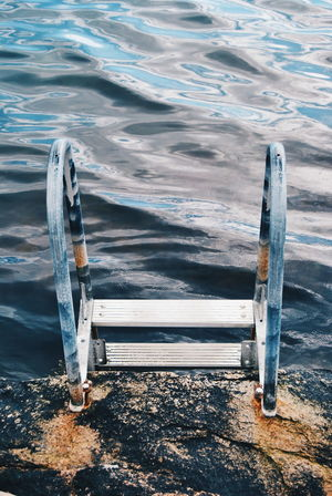 Bath Bathing Bathing Ladder Blue Escapism Full Length Getting Away From It All Ladder Leisure Activity Ocean Ocean View Outdoors Rear View Relaxation Rock Sea Sea_collection Seascape Seaside Water Water Reflections Water_collection Watercolor Waves Landscapes With WhiteWall