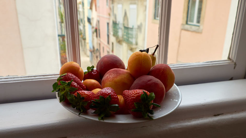 Still life at the window - Apricot Close-up Focus On Foreground Fruit Fruits Multi Colored Orange Peach Pear Red Still Life Strawberry Tasty Tuttifrutti Window The Street Photographer - 2016 EyeEm Awards Feel The Journey