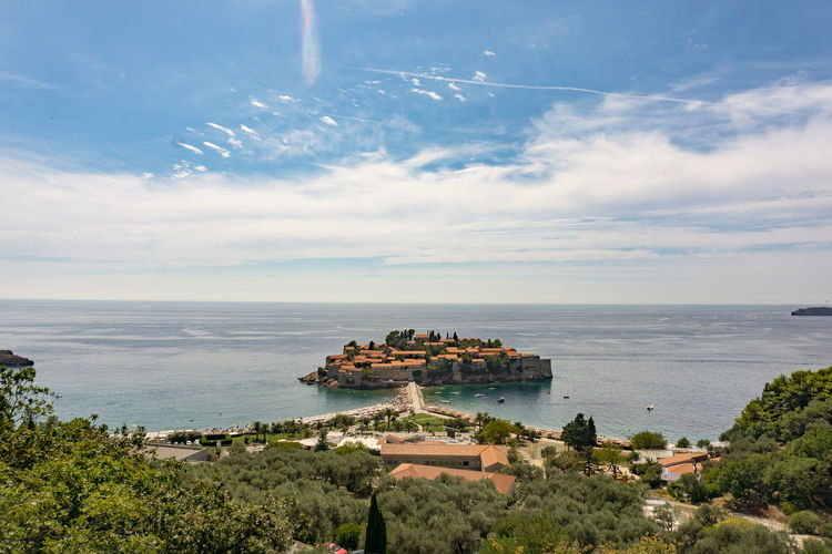 High Angle View Of Sveti Stefan Against Sky