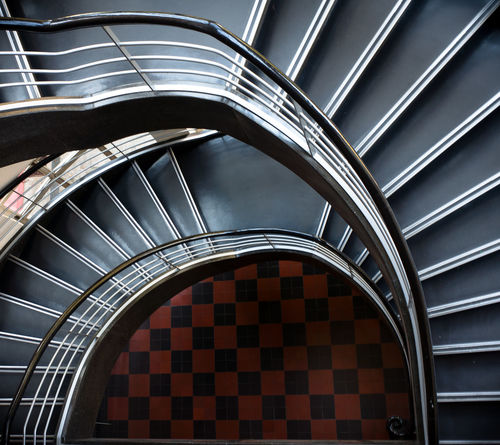 Architecture Staircase Railing Built Structure Indoors  Pattern No People Steps And Staircases Curve Spiral Modern High Angle View Building Design Metal Day Shape Directly Below