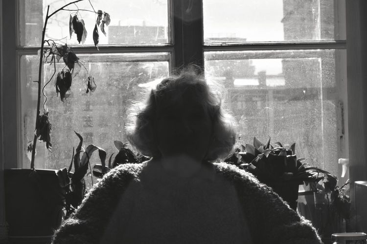 Rear view of woman on glass window at home