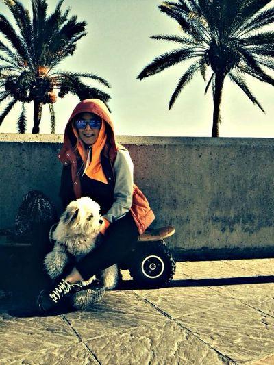 SkateSkater Girl Skater Dog