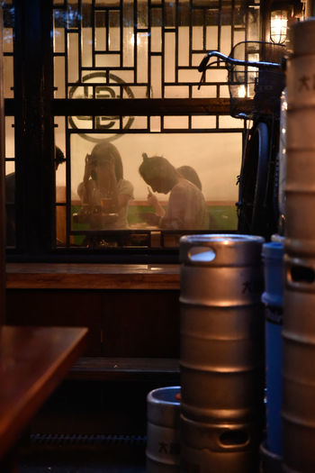 Beer Kegs Brewery Chinese Day Dusk Evening Hutong Hutong Life Illuminated Indoors  Occupation One Person Real People Through The Window Working