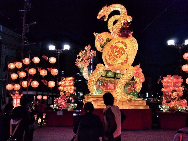 Lantern Objects Chuo-bashi, Nagasaki City : Nightphotography Night Lights Streetphoto_color On The Bridge / LUMIX G VARIO 35mm. Good evening 和華蘭(Nagasaki Culture) NAGASAKI LANTERN FESTIVAL
