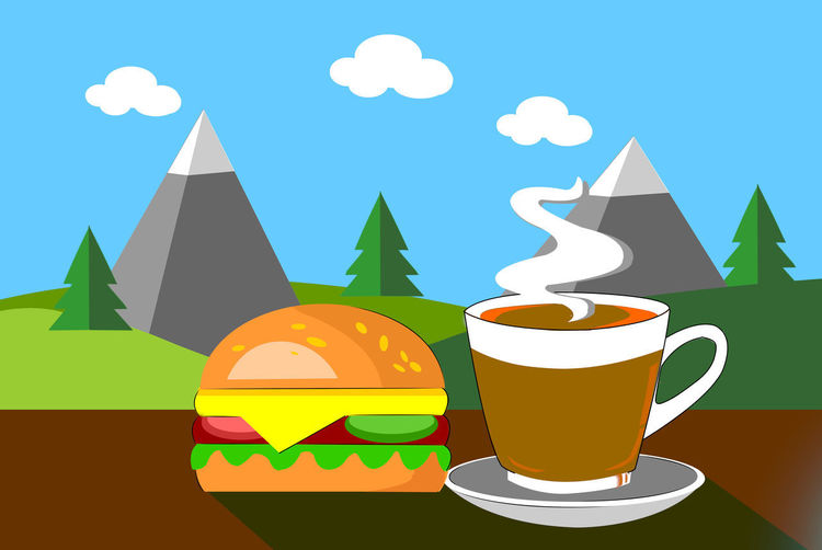 Drink Multi Colored Food And Drink No People Refreshment Cup Shape Still Life Table Mug Coffee Sky Coffee Cup Design Close-up Nature Coffee - Drink Decoration Outdoors Travel Destinations View Landscape Moutains Hot Coffee In The Morning Hamburger