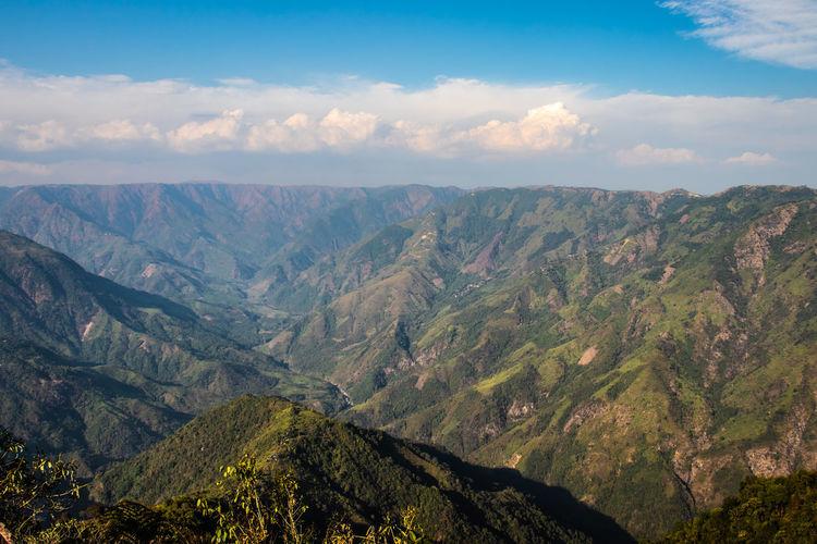 Mountain range with amazing blue sky beautiful landscape