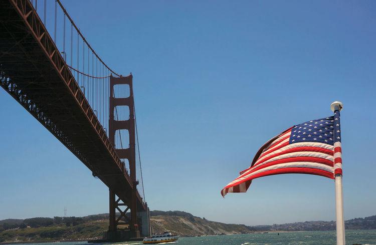 Summer Flag Golden Gate Bridge San Francisco Sky