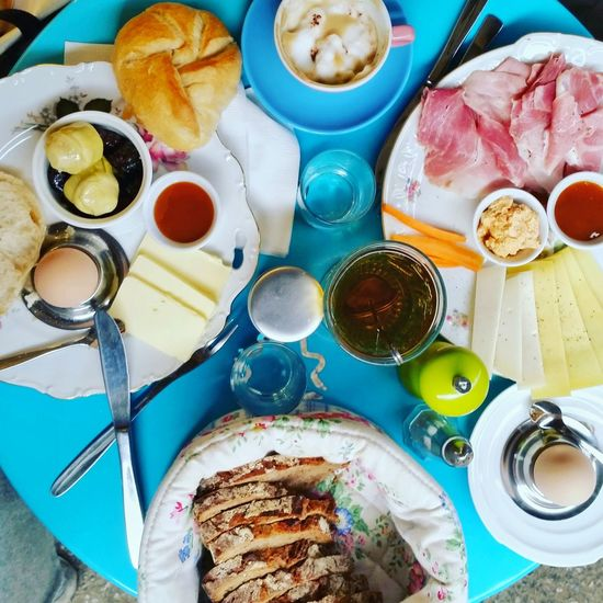 Breakfast Coffee Ham Market Tea Bread Chease Eggs Food And Drink Table Turquoise Table