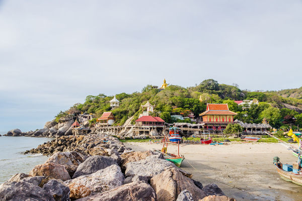 Local seaside temple at Prachuap Khiri Khan-Thailand Architecture; Asia; Countryside; Culture; Day Heritage; Landscape; Monastery; Mountain; Nature No People Occupation; Outdoors Peaceful; Scenery; Seascape; Shore; Sky Sunrise; Temple; Tredition; Tropical; Vacation; Village; Water;