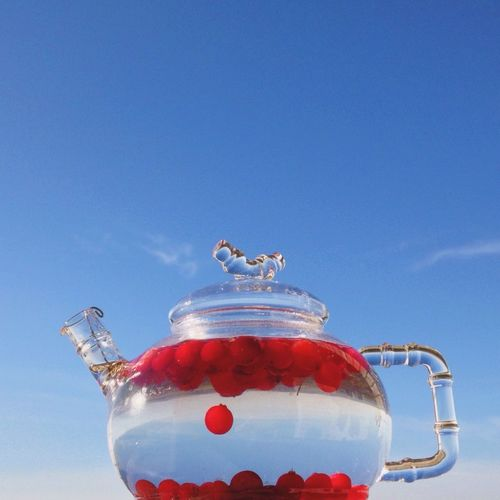 Close-up of fruits in transparent kettle against blue sky