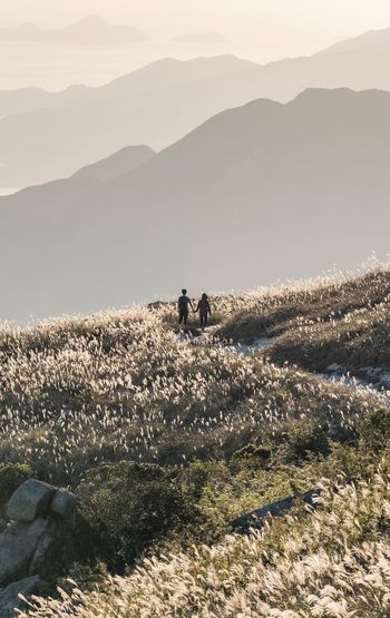 The Way Home Couple Mountain Beauty In Nature Scenics - Nature Real People Nature Landscape Environment Sunlight People Outdoors Lifestyles Mountain Range Sky First Eyeem Photo